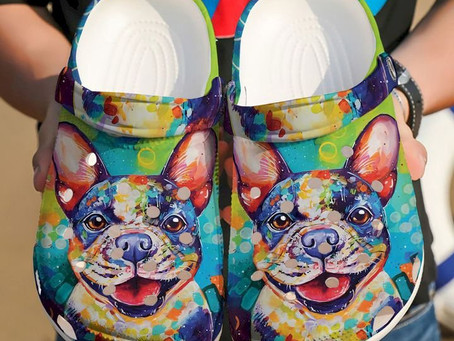 New - French Bull Dog Colorful Crocs Clog Shoes