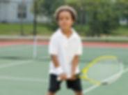 Niño, tenencia, raqueta