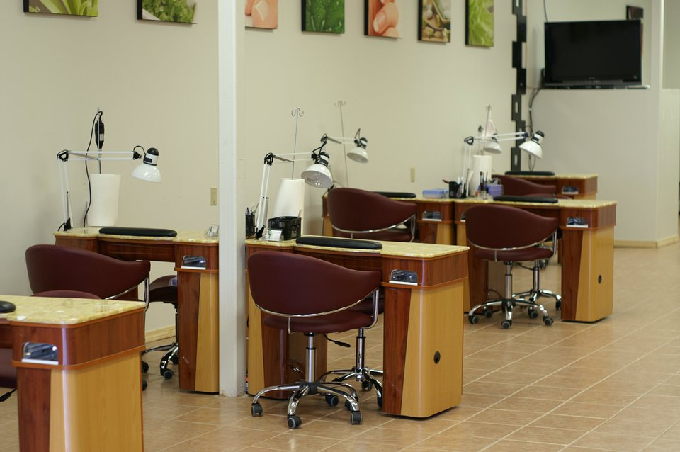 Nail technician stations.