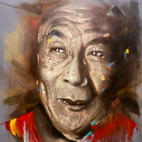 'DALAI LAMA' Fine Art Canvas Unstretched