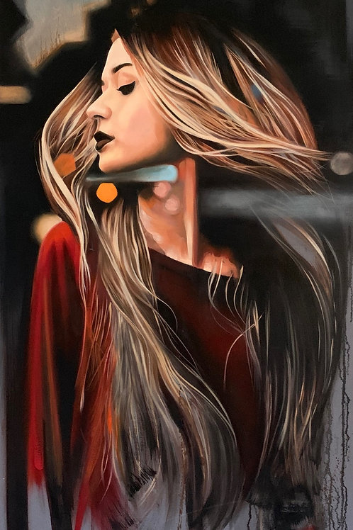 'The Girl by Night' Stretched Fine Art Canvas