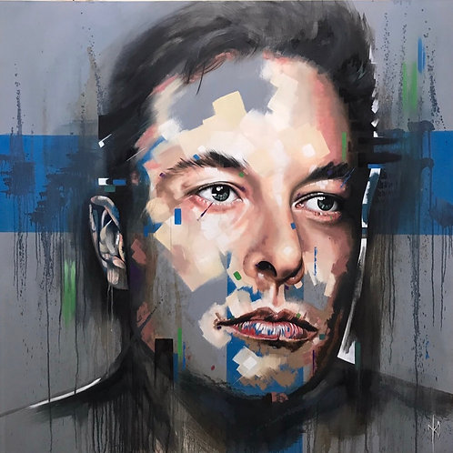 'ELON MUSK' Fine Art Canvas Print Unstretched