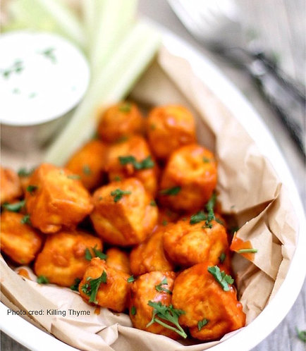 Buffalo Bites + Roast Potatoes (Vegan/GF)