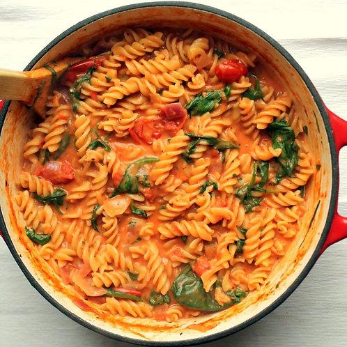Creamy Sundried Tomato Fusilli w/Spinach (GF/Vegan)