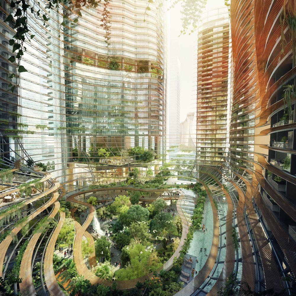 Gustafson Porter e Ingenhoven revelam o desenvolvimento montanhoso em Singapura..