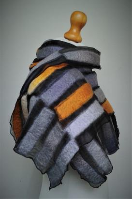 Grey And Orange Nuno Scarf.
