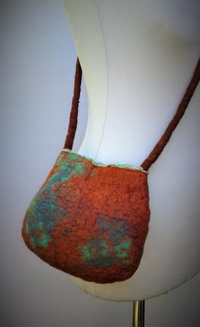 Copper and verdigris Felt Bag.