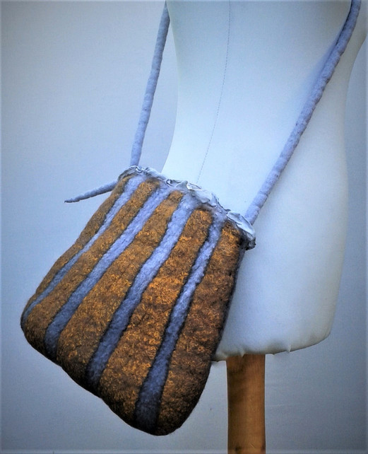 Felt And Silk Striped Bag