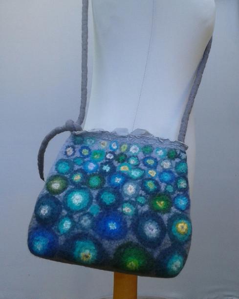 Turquoise Felt Bubbles Bag.