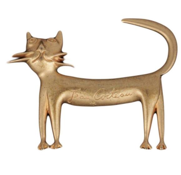 Spilla gatto Jean Cocteau
