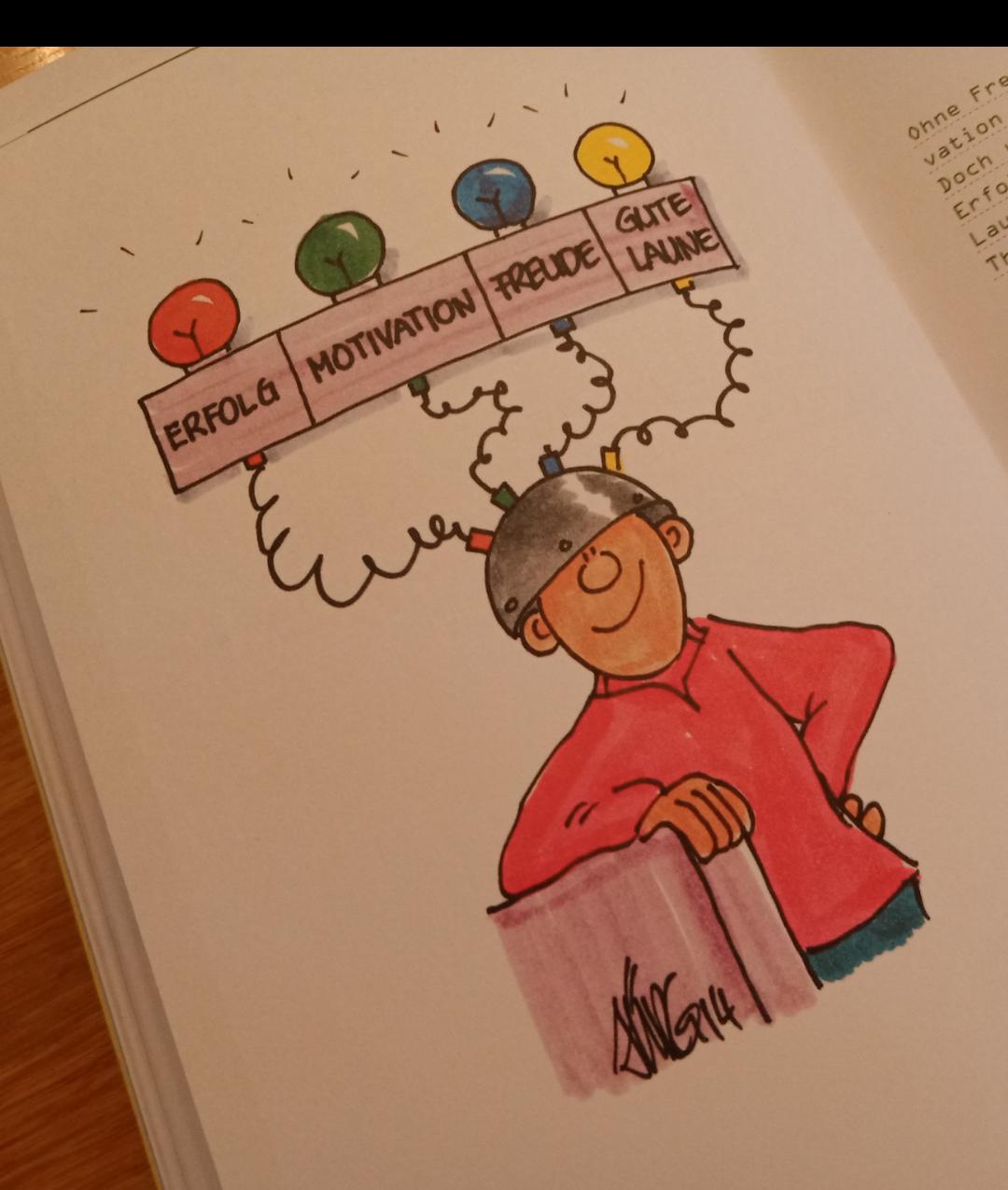 Erfolg Motivation Freude Buch-Illustrati