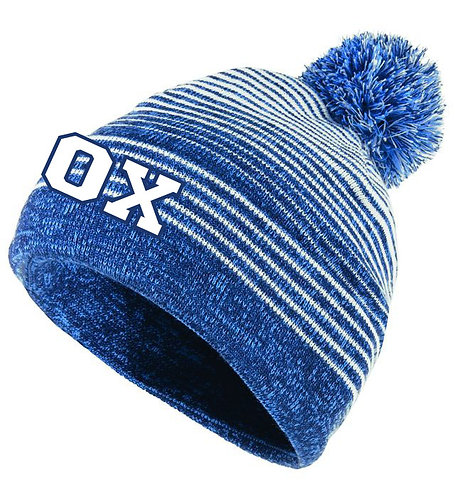 STRIPED WINTER HAT - BLUE/WHITE