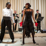 A successful festive evening with our Jazz Band accompanied by dancers for a party typified The Great Gatsby the Magnificent. For your cocktails, Bar Mitzvah, Private Parties, Weddings and Corporate Corporate Events.