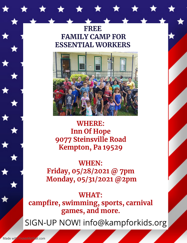 Family camp for Essential workers- 2021.