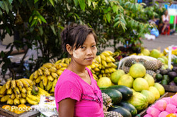 Burmese lady's portrait fruit vendor