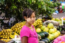 Burmese lady's portrait fruit vendor