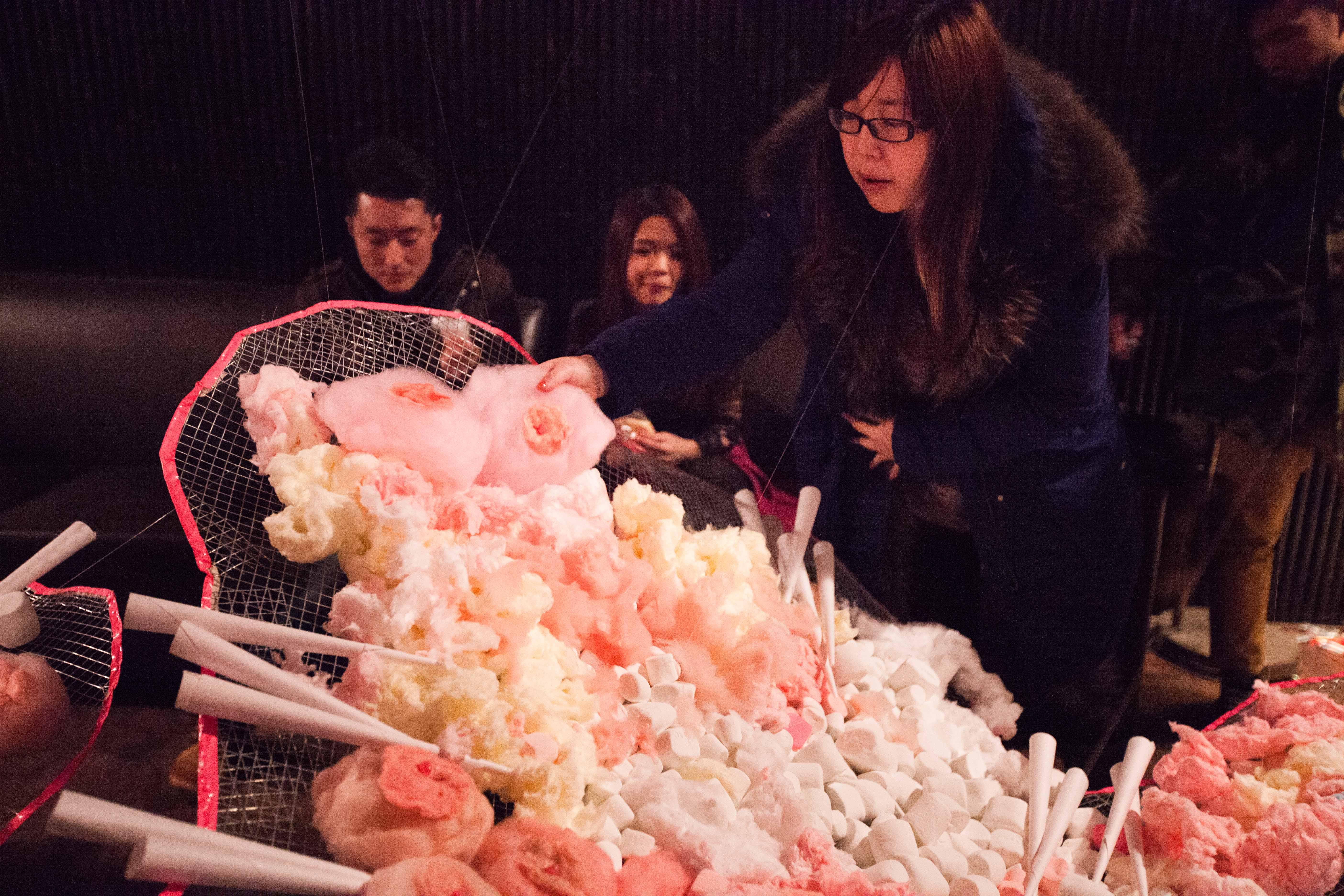 《春梦Wet Dream》2015, 棉花糖果,软糖,钓鱼丝,网线, 6