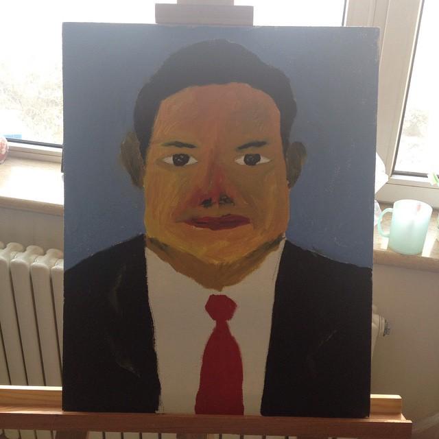 周永康,布面油画,30x40cm
