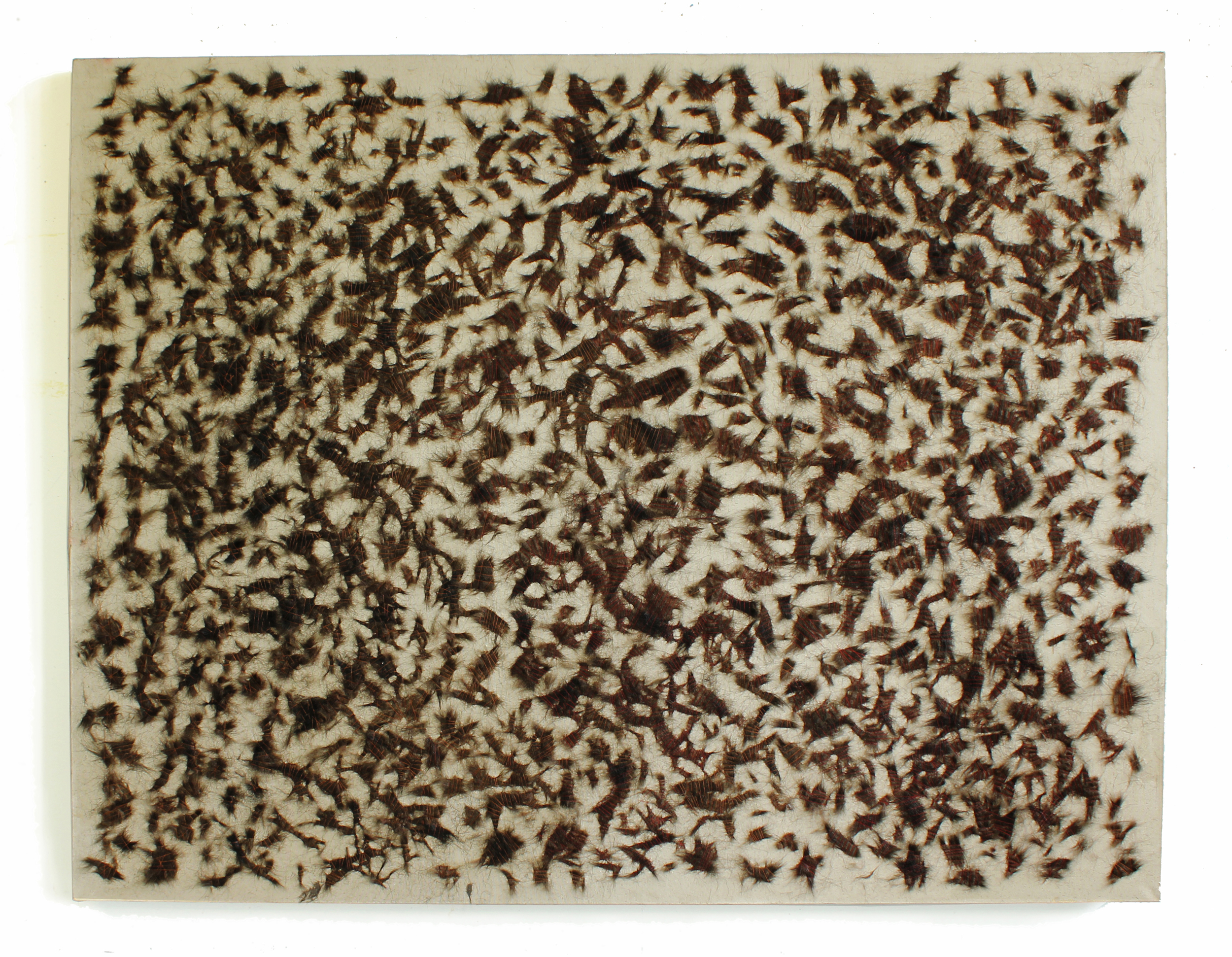 The Trinity part ll, 2013, hair and fur on canvas, 53 x 42 inches
