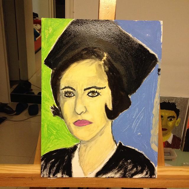诺贝尔和平奖得主伊朗律师伊巴迪,布面油画,30x40cm