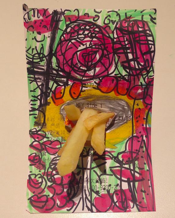 詹琦在麦当劳小票上的画