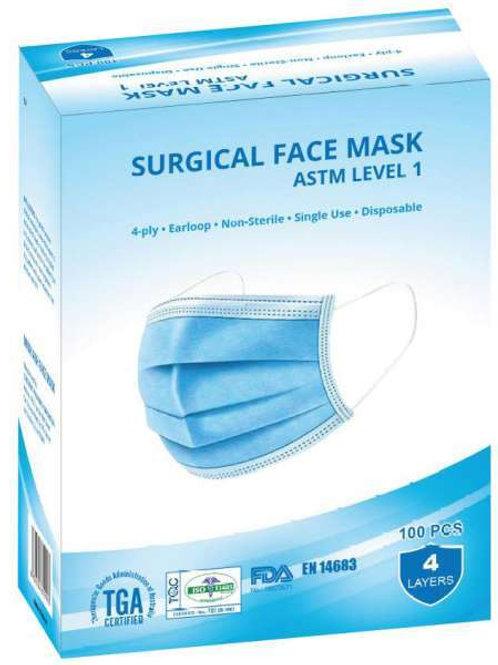ATSM Level 1 TGA Approved Disposable Mask - 100 pack