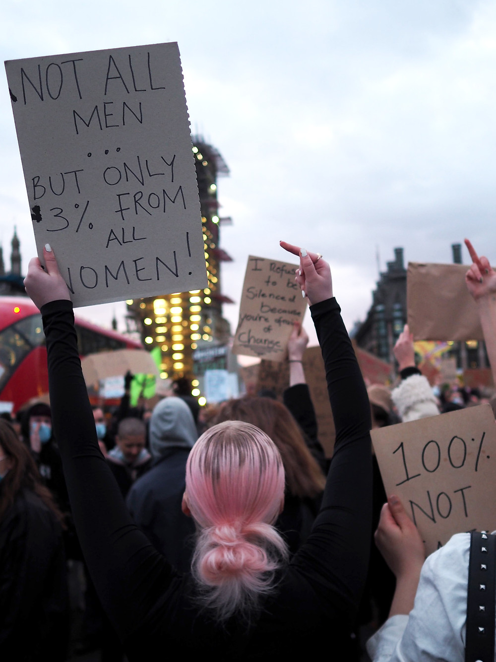 A woman holds up a sign at the protest against the Governments Police, Crime, Sentencing and Courts bill in Parliament Square on the 15th March 2021. Picture by: Filippo Ceccanibbi.