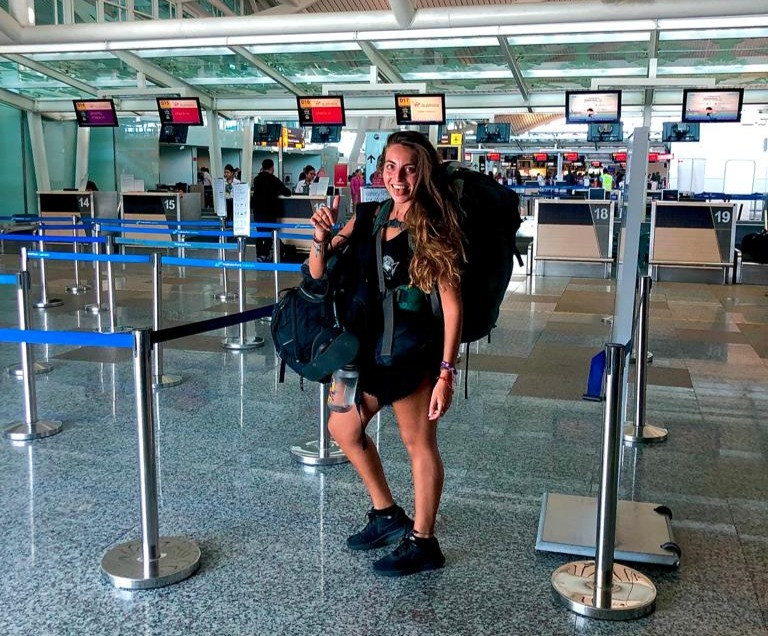 A picture of Emily Nagioff at the airport before she goes off on her travels. Picture by: Emily Nagioff