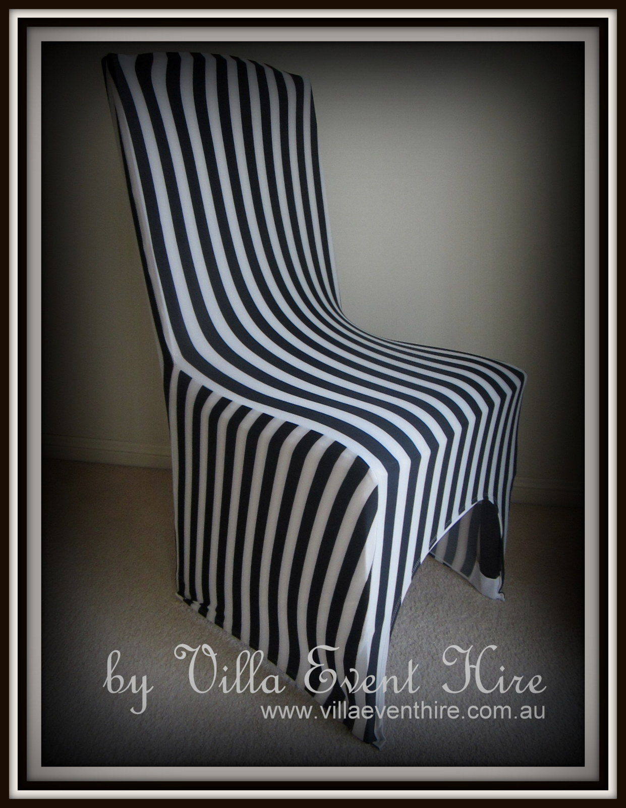 Black & White Striped Chair Cover