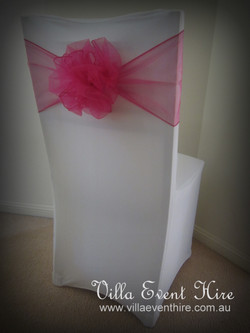 White Lycra Chair Cover with Sash