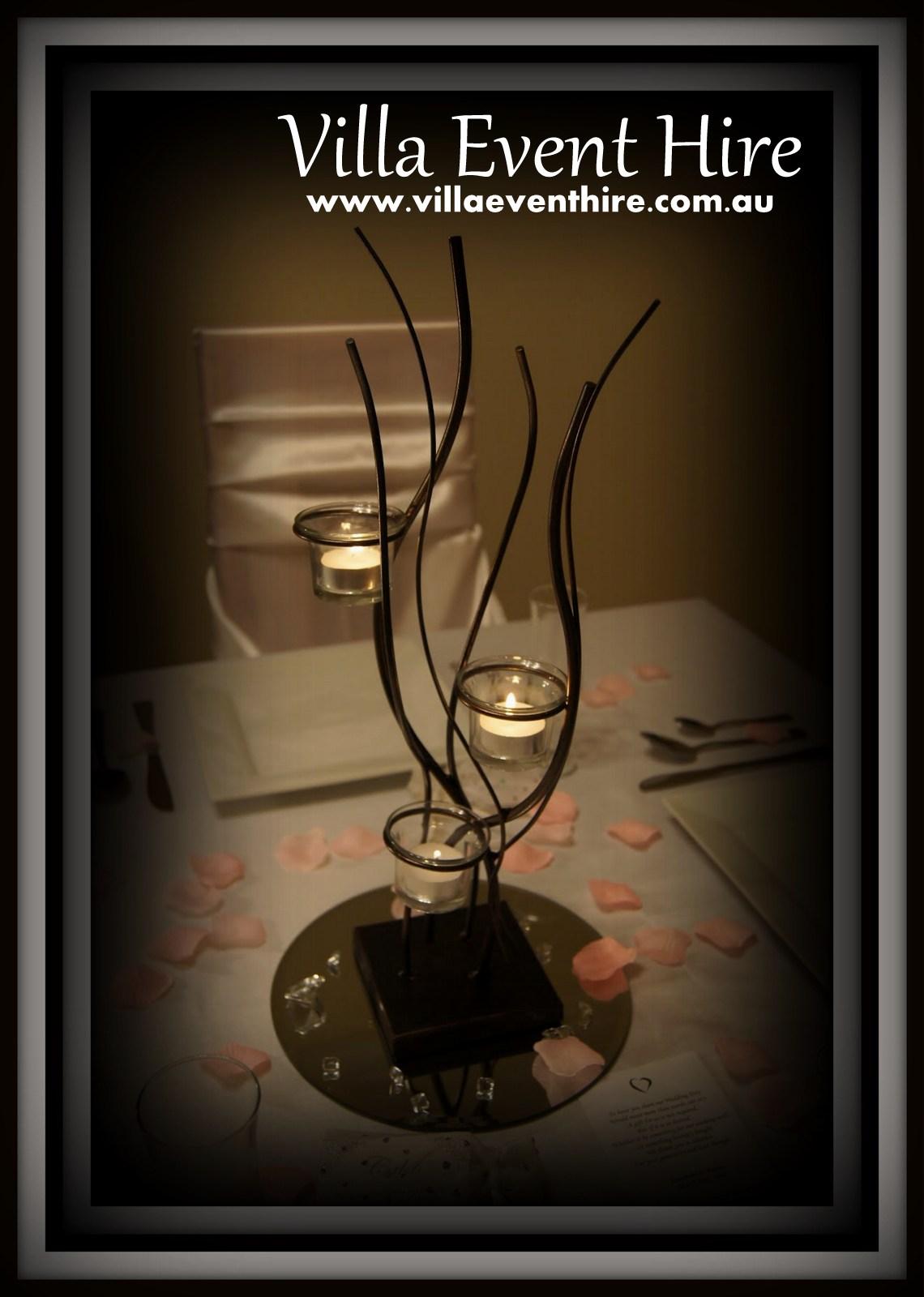 3 tealight steel centrepiece