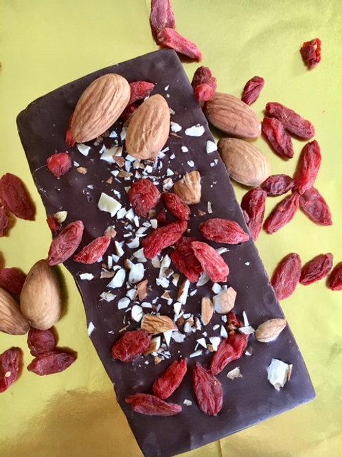 DarkCocoa Bar with Goji berries and Almonds