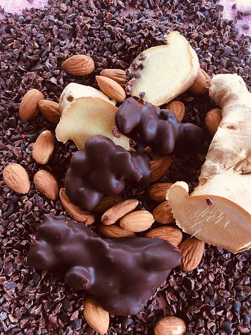 Dark Chocolate Ginger Almond clusters (sold buy the pound)