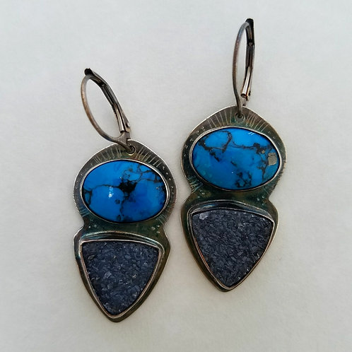 Turquoise and black druzy earrings