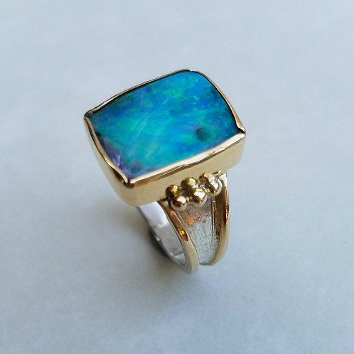 Caribbean blue opal ring
