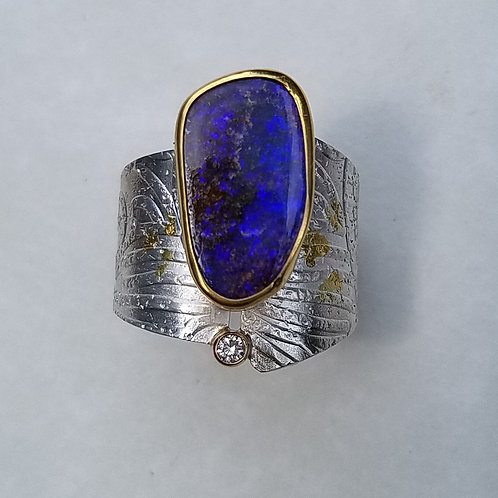 Purple Boulder Opal Ring