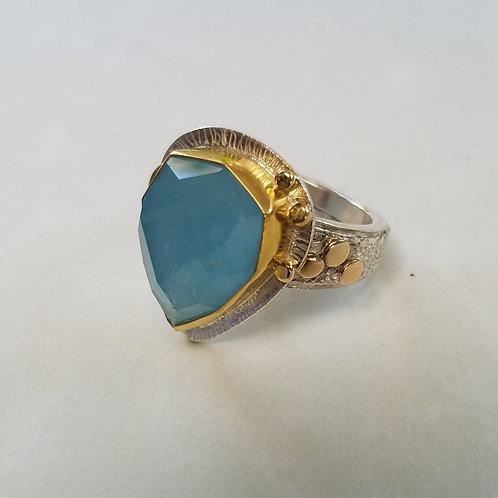 Rose cut Aquamarine ring