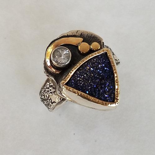 Blue Druse Ring
