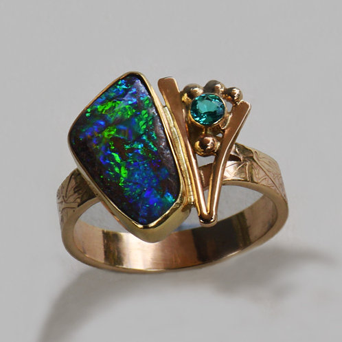 14k & 22k Gold Boulder Opal with Apatite Ring