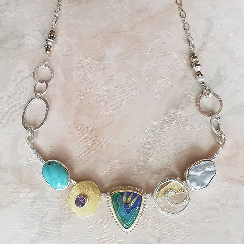 """Cloisonne """"Cool Blue"""" Necklace"""