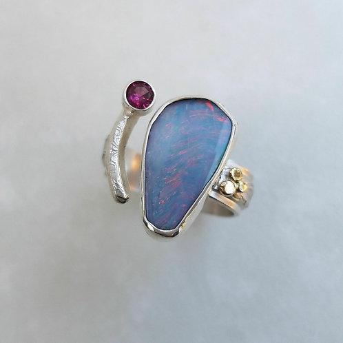 Open Shank Boulder Opal ring