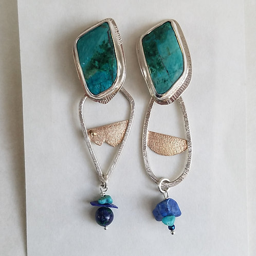 Chrysocolla earrings in Sterling with 22 carat accent