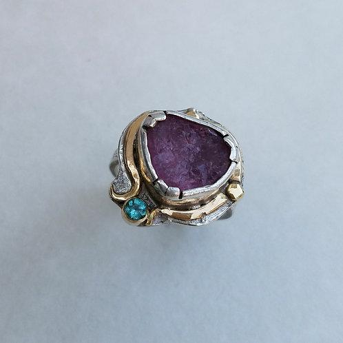 Natural Surface pink tourmaline ring
