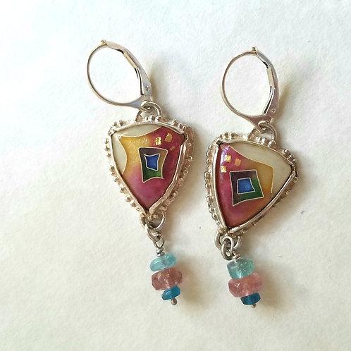 Cloisonne triangle earrings