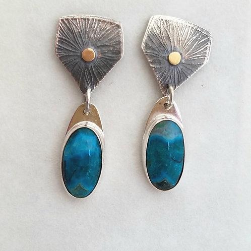 Beautiful Chrysocolla and Malachite in Quartz Earrings *  14k gold & sterling