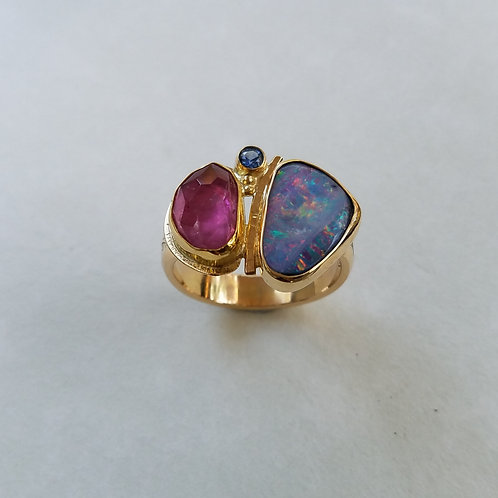 Opal with Ruby ring