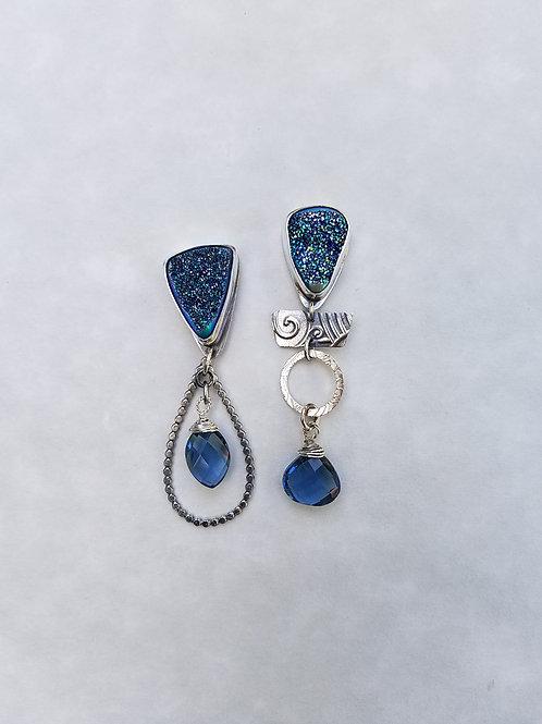 Blue Druse earrings