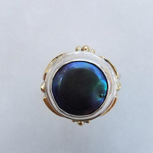 Peacock coin pearl ring