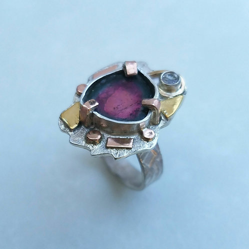 Watermelon tourmaline collage ring