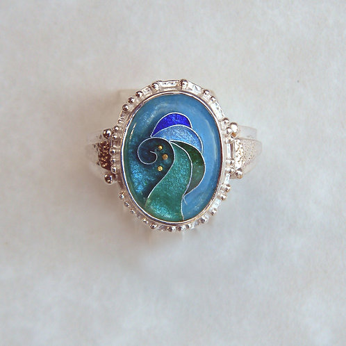 Blue Waves Ring